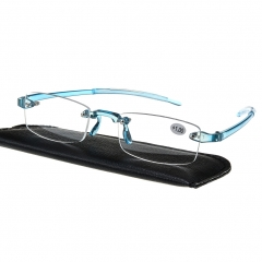 New Light Weight Rimless Reading Glasses Men's Women's Reader Blue +1.00~+3.50 +1.00 strength