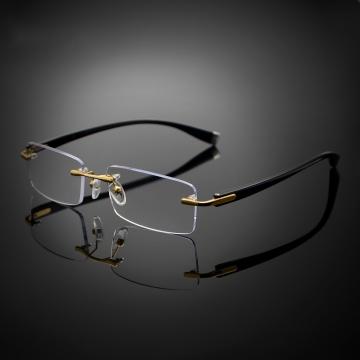 9595868b85d8b Rimless Reading Glasses UV400 Coating Lens Reader +0.25 ~+4.00 Gold +0.50  strength