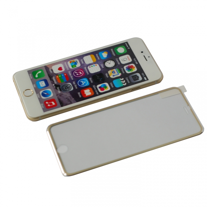 2Pcs - Full Coverage Tempered Glass Screen Protector Metal Edge to Edge for iPhone 6 6s Plus Film Gold 5.5inch