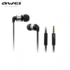 ES600i Stereo Headset Earphones Metal earhud with mic earphone for IPhone IPOD Android phone black