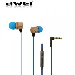 ES-16HI Wooden In-Ear Earphone Metal Heavy Bass Sound Quality Music Earphone Headset blue