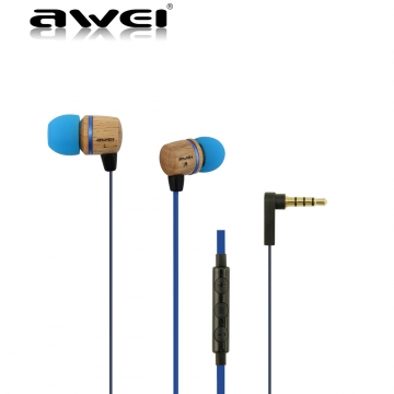 ES-16HI Wooden In-Ear Earphone Metal Heavy Bass Sound Quality Music Earphone Headset blue