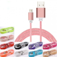 2PCS Braided Charging type-c Cable 1.5M with Metal Head Plug USB For Samsung s7 s8 plus Sony LG MIX Color