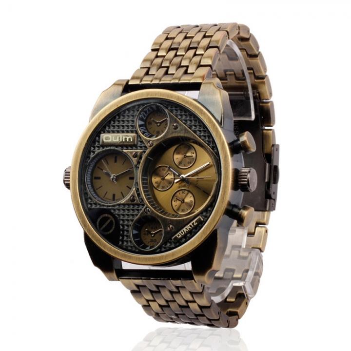 Big Dial Sports Outdoor Military Men Bronz Three Dials Waterproof Quartz Wrist Watches Cinnamon One sizde