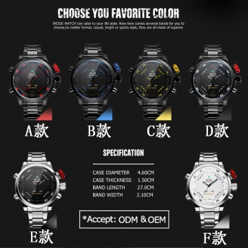 LED Display Men's Multifunctional Alarm Date Quartz Military Watches  Stainless Steel Black A-Size