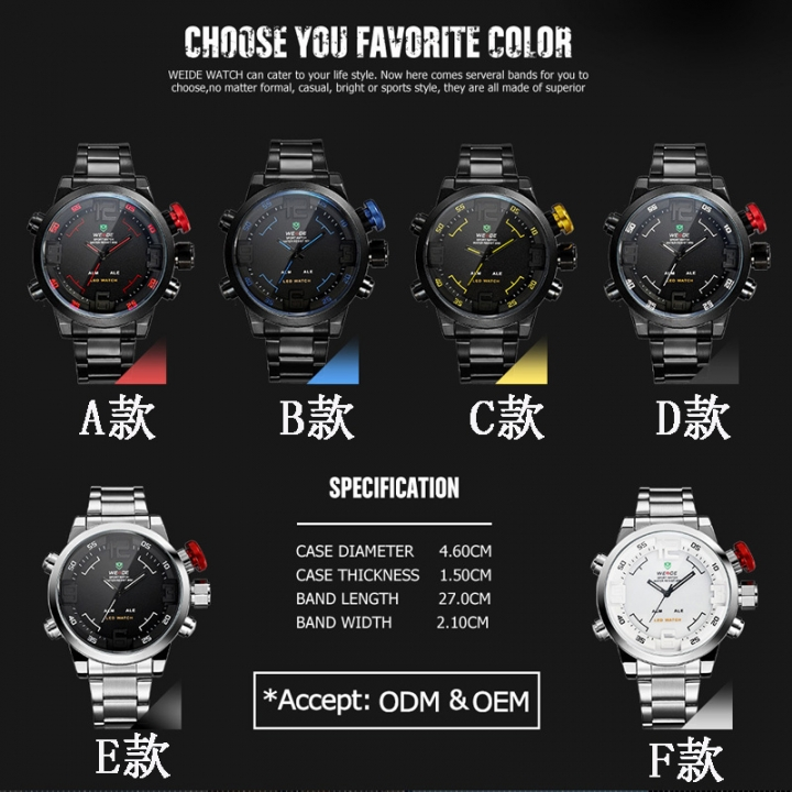 LED Display Men's Multifunctional Alarm Date Quartz Military Watches  Stainless Steel Black F-Size