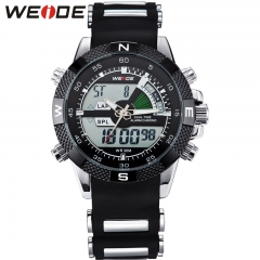 New Fashion Mens Sports Watch Analog & Digital Dual Time LCD Backlight Wrist Watch black a-size