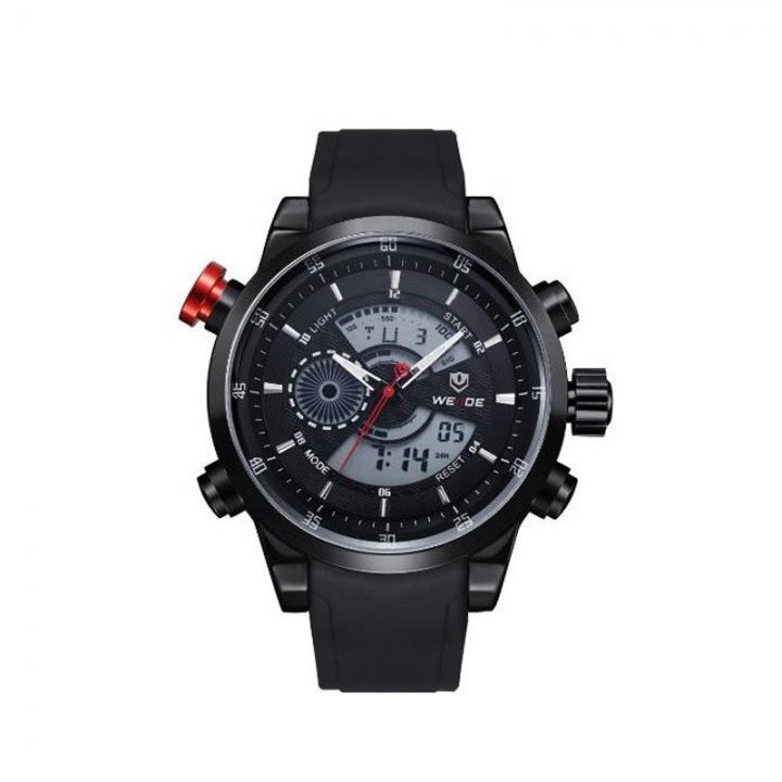 Men's Fashion Casual Reloj Quartz Watch Digital LED Military Diving Waterproof Men Watches black one sizde