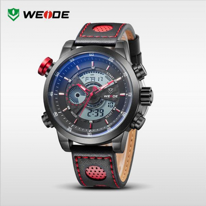 LED Dual Time Display Men Multifunction Waterproof Quartz Watch Leather Strap Red one sizde