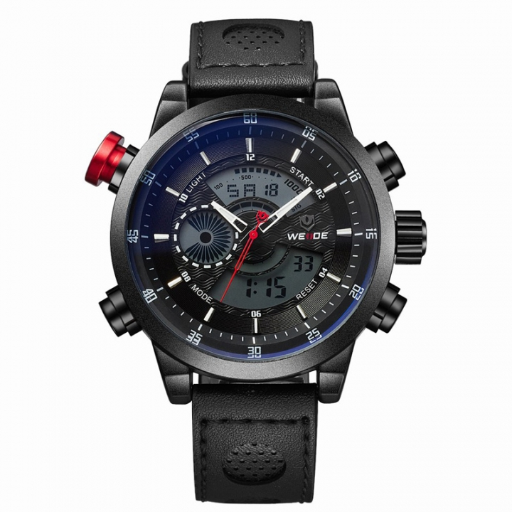 LED Dual Time Display Men Multifunction Waterproof Quartz Watch Leather Strap black one sizde