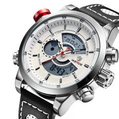 LED Dual Time Display Men Multifunction Waterproof Quartz Watch Leather Strap white one sizde