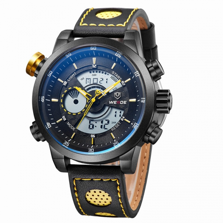 LED Dual Time Display Men Multifunction Waterproof Quartz Watch Leather Strap Yellow one sizde