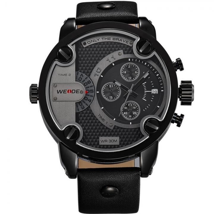 New 2018 Men Sports Watches Leather Belt Waterproof Quartz Men Military Wrist Watch Clock Male black one sizde