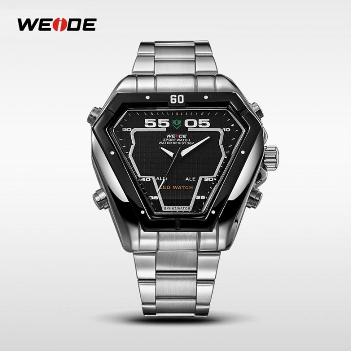 WH-1102 Men Waterproof Quartz Alarm Dual Time Zones Date Led Display Stainless Steel  Wrist Watch black one sizde