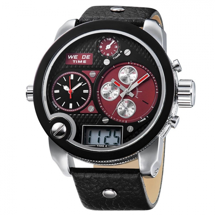 Sport Watches Three Time Zone Analog Digital Display Waterproof Big White Dial With Leather Strap red one sizde