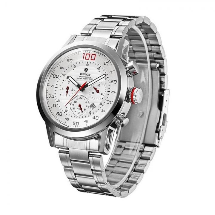 Men Waterproof Quartz Calendar Silver Stainless Steel Wristwatch White Dial white one sizde