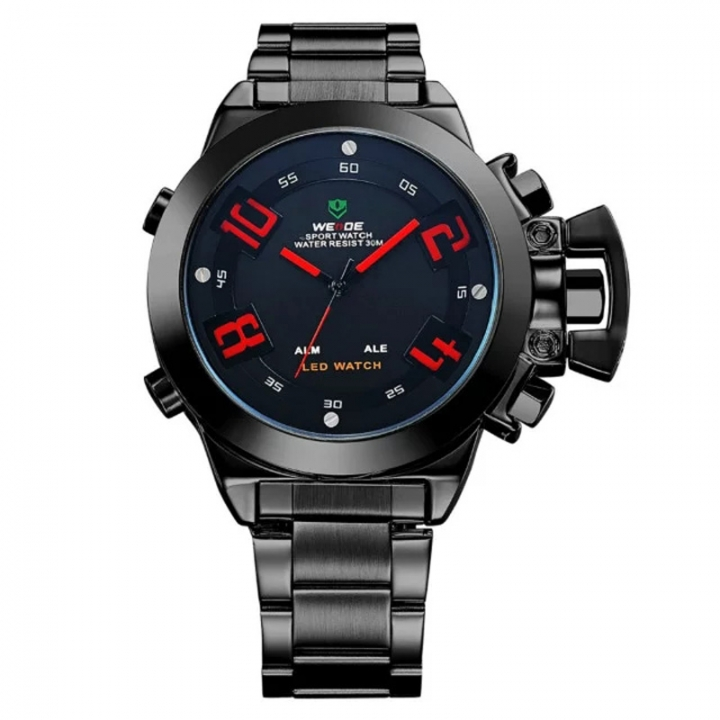 Men's Sports Quartz Analog Military LED Date Alarm Stainless Steel Watch BLACK+RED one sizde