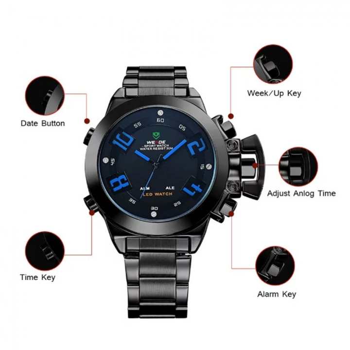 Men's Sports Quartz Analog Military LED Date Alarm Stainless Steel Watch BLACK +BLUE one sizde