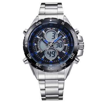Stainless Steel Band Black Round Dial Blue Numerals Dual Movement Men's Wrist Watch black one sizde