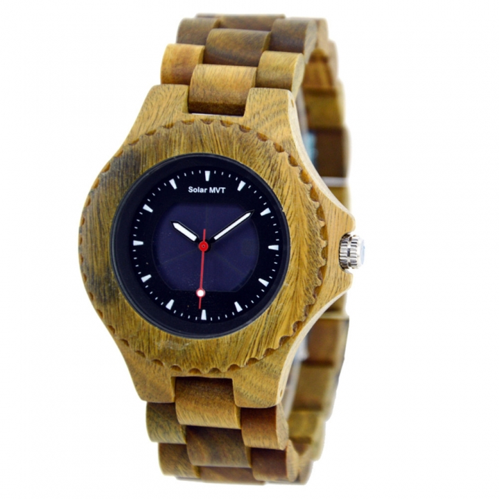 Unisex Casual Wooden Solar Powered Analogue Wrist Watch with Luminous Hand, Green Sandalwood Green Sandalwood one sizde