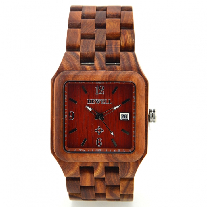 111A Men's watch Wooden watch Handmade square dial fashion automatic date watch men's luxury brand red sandalwood one sizde