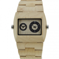 Handmade Natural Maple Wood Men's Dual Movement Quartz Wooden Dial Watch Maple Wood one sizde