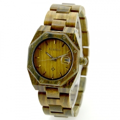 Hot Irregular Watch W099A All Wood Strap Handmade Natural Quartz Watches for Men with Date Display green sandalwood one sizde