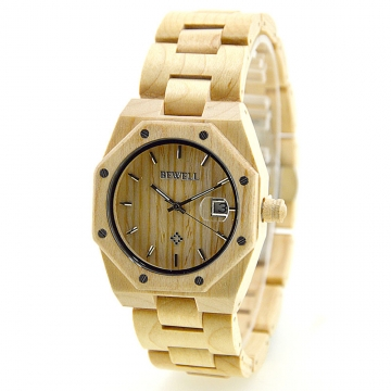 Hot Irregular Watch W099A All Wood Strap Handmade Natural Quartz Watches for Men with Date Display maple wood one sizde