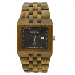 Men's Wrist Watches W017A with Calendar Clock Luminous Hands Unique Casual Square Watcht For Men green sandalwood one sizde