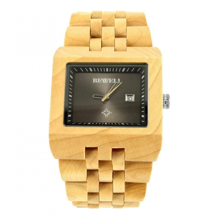 Men's Wrist Watches W017A with Calendar Clock Luminous Hands Unique Casual Square Watcht For Men maple wood one sizde