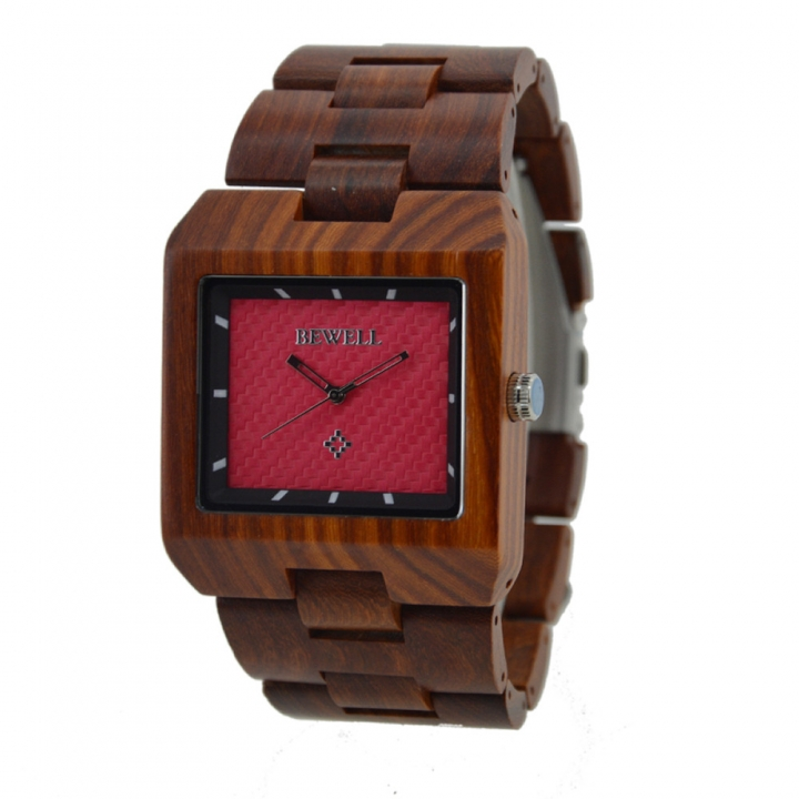 Brand New Rectangle Dial Wooden Watches Japanese Analog Quartz Wrist Watch W016A Clock for Men red sandalwood one sizde
