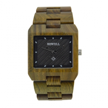 Brand New Rectangle Dial Wooden Watches Japanese Analog Quartz Wrist Watch W016A Clock for Men green sandalwood one sizde