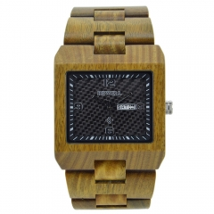 Men Dress Watch Quartz Mens Wooden Ebony Watch W016B Wood Wrist Watches men Natural Calendar Display green sandalwood one sizde