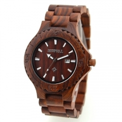 Men's Wood Watch W023 Handmade Luxury Clock Men's Automatic Date Quartz for Men Wrist Watches red sandalwood one sizde