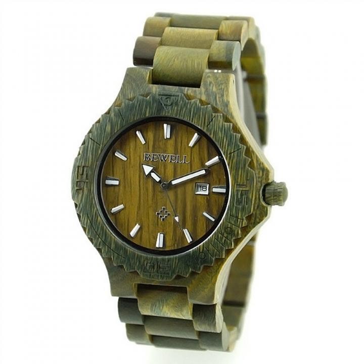 Men's Wood Watch W023 Handmade Luxury Clock Men's Automatic Date Quartz for Men Wrist Watches green sandalwood one sizde
