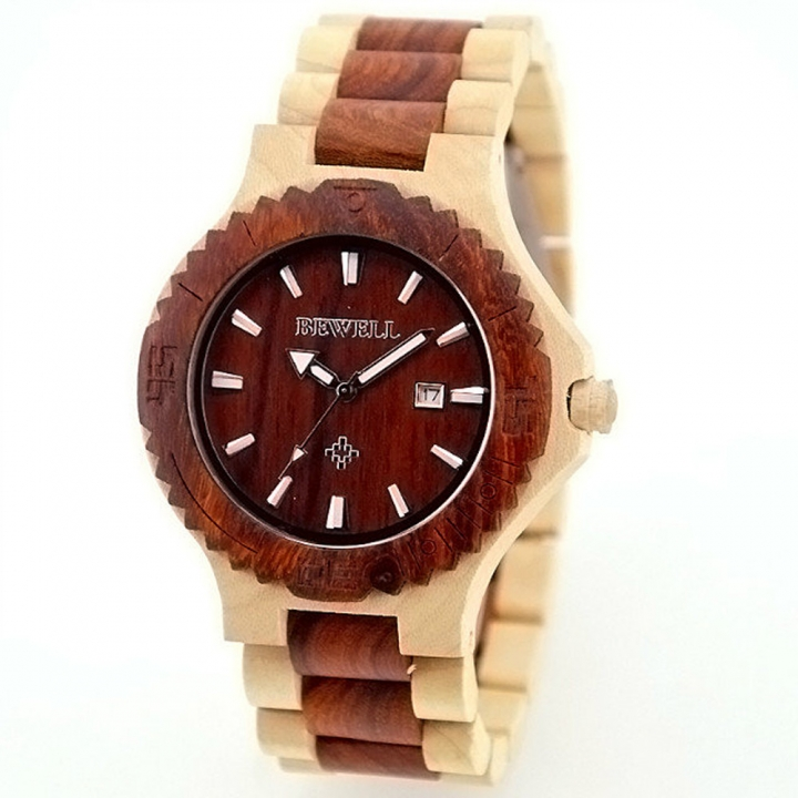 Men's Wood Watch W023 Handmade Luxury Clock Men's Automatic Date Quartz for Men Wrist Watches maple wood one sizde