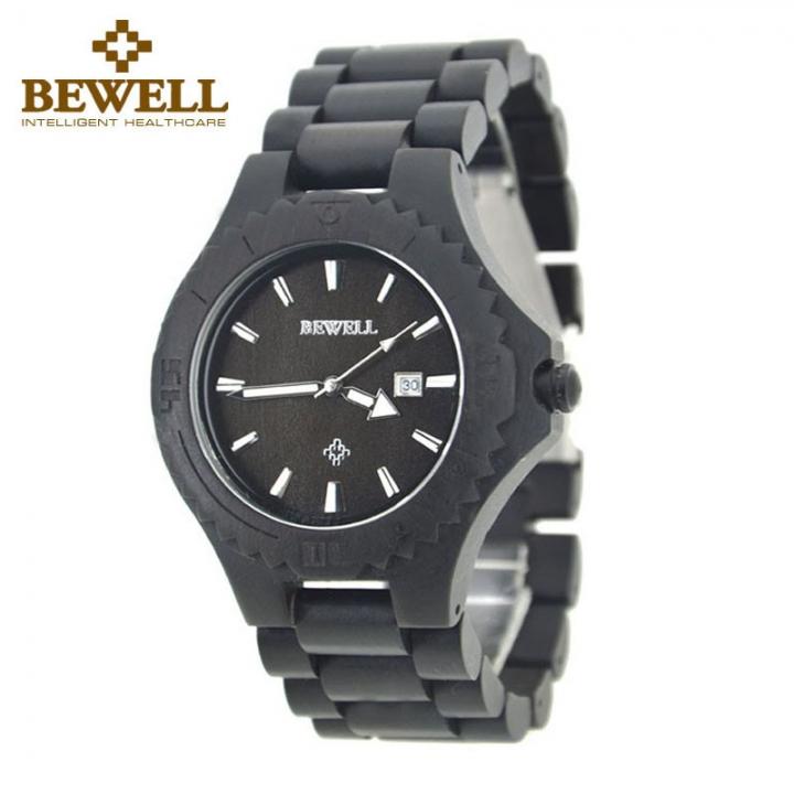 Men's Wood Watch W023 Handmade Luxury Clock Men's Automatic Date Quartz for Men Wrist Watches ebony one sizde