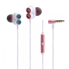 Dual Dynamic Drivers In-ear Earphones with Mic Strong Bass and Noise Reduction for Smartphones Table rose gold