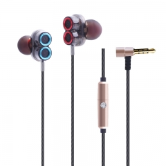 Dual Dynamic Drivers In-ear Earphones with Mic Strong Bass and Noise Reduction for Smartphones Table gold