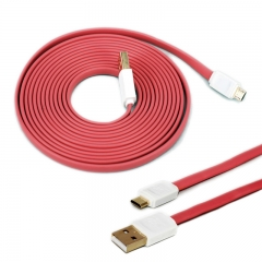 3M Noodle Flat V8 Micro USB Cable Charger Data Sync Cord for Android Smart Mobile Phone Watches red
