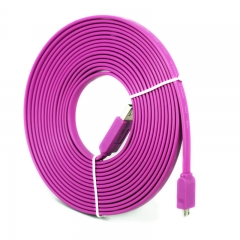 5M Noodle Flat V8 Standard Interface Micro USB Cable Charger Data Sync Cord for Android Cell Phones purple
