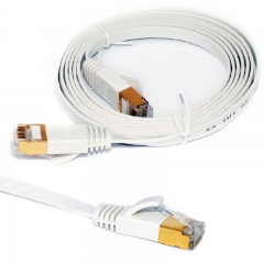 RJ45 Cat-6 Flat Internet Ethernet Patch Cable - 4.9 Feet White 1.5M