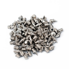 50 Pcs 1/4 Inch Replacment Stainless Steel Cross Country Spikes for Running with Cleat Wrench Silver 50pcs