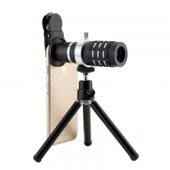 Universal Mobile Phone Macro Lens 12X Zoom Telescope lens With Stand For Smart Phone Table Lens black 12x