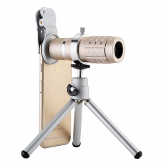 Universal Mobile Phone Macro Lens 18X Zoom Telescope lens With Stand For Smart Phone Table Lens gold 18X