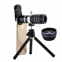 3 in 1 12X Zoom Lens + 0.45X Wide Angle Lens +15X Macro Lens For iPhone Samsung Mobile Smart Phones black 12x