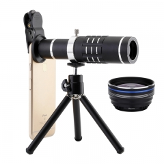 3 in 1 18X Zoom Lens + 0.45X Wide Angle Lens +15X Macro Lens For iPhone Samsung Mobile Smart Phones black 18x