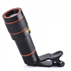 12X Universal Optical Zoom Lens Marco Lens Focus Telescope with Clip for iphone Samsung Smart Phones black 12x