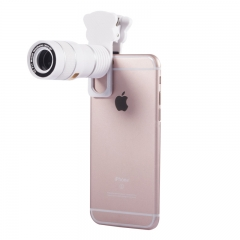 5 in 1 Universal Clip On Cell Phone Camera Lens Kit for iPhone / Samsung HUAWEI Most Smartphones white 9X