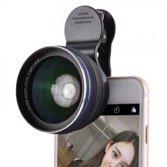 Universal Moblie Phones Lens 2 in1 0.45X Super Wide Angle+Macro Lens + Clip For Smart Phones black 0.45x